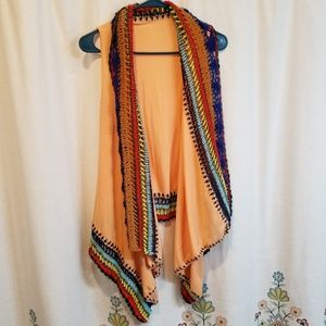 Orange crocheted vest